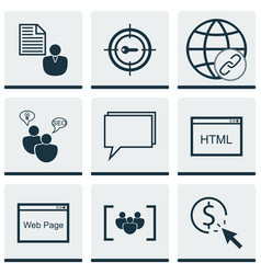 Set of 9 advertising icons includes website vector
