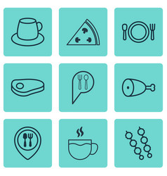 Set of 9 food icons includes cutlery pepperoni vector