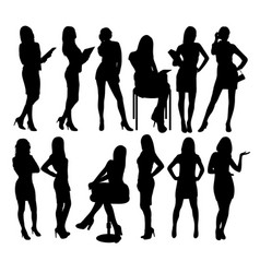 sexy secretary and business woman silhouettes vector image vector image