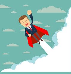 Super businessman in red capes flying upwards to vector