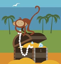 Treasures and monkey vector