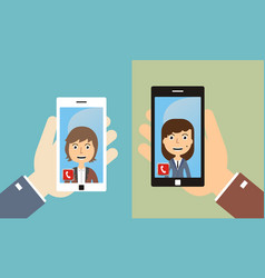 video conference with friends by smart phone vector image vector image