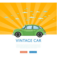 Website design with classic retro car vector