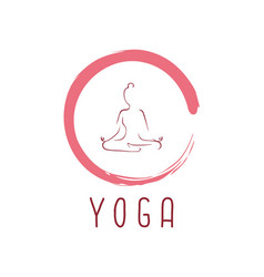 yoga logo with zen icon design vector image vector image