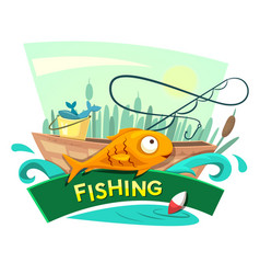 Fishing concept design vector