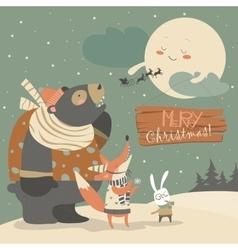 Bearrabbit and fox watching the moon vector image