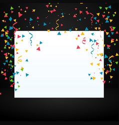 Confetti with white display board vector