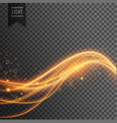 Light effect of golden light waves with sparkles vector