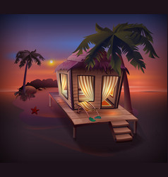 Night tropical island straw hut among palm trees vector