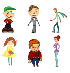 six funny characters vector image