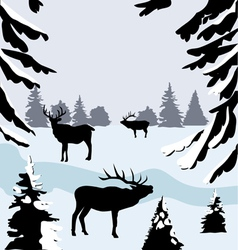 Deer woods vector