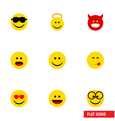 Flat icon face set of wonder pouting pleasant vector