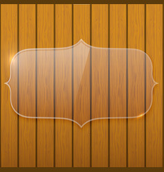 Glass plate on the wooden wall vector