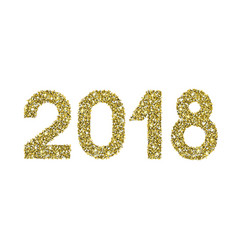 2018 gold glitter date happy new year vector image