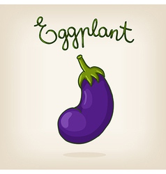 cute hand drawn shiny eggplant vector image
