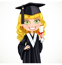 Cute girl in cap holding a scroll diploma vector