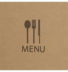 Fork and knife recycled paper stick on pattern vector