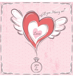 Pink valentine card with heart and engagement ring vector
