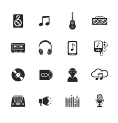 Music icons set mobile black vector