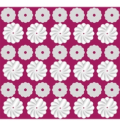White flowers on pink background pattern vector