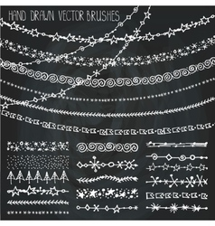 Winter garland brushes setchristmas doodles vector
