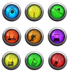 Radio signal icons set vector
