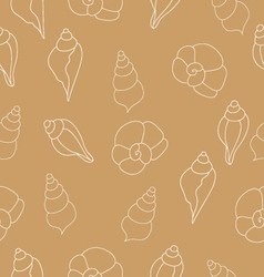 Beige seamless pattern with seashells vector