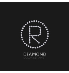 R letter with diamonds vector image