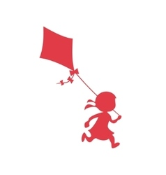 Girl running with a kite fun playing logo vector