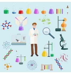 Chemical and menicine laboratory equipment icon vector