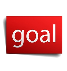 Goal red square isolated paper sign on white vector