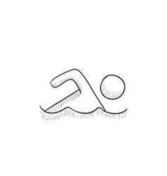 Swimmer sketch icon vector