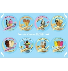 Set ice cream for sale with price hand drawn vector