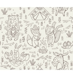 Animal woodland camping sketch vector