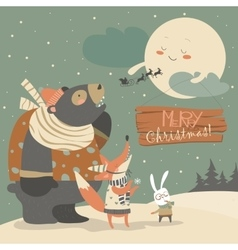 Bearrabbit and fox watching the moon vector