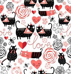 Beautiful seamless graphic pattern of funny cats vector image