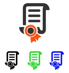 Certified scroll document flat icon vector