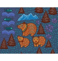 Decorative seamless pattern with bears and fishes vector image vector image