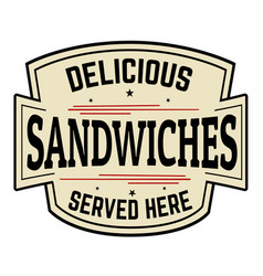 delicious sandwiches label or icon vector image