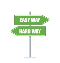 Easy and hard way directions sign isolated on vector image