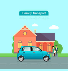 family transport flat web banner vector image