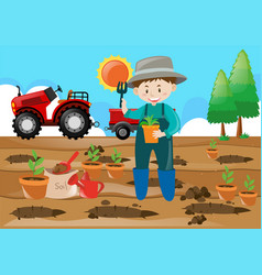 farm scene farmer planting tree in the field vector image