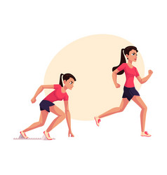 female runner sprinter jogger ready to start vector image vector image