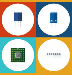 flat icon electronics set of transistor unit vector image