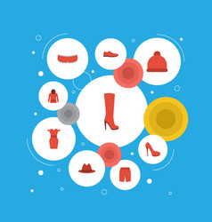 Flat icons gumshoes fedora pompom and other vector