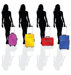 girl with a suitcase vector image