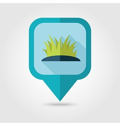 Grass flat pin map icon map pointer vector