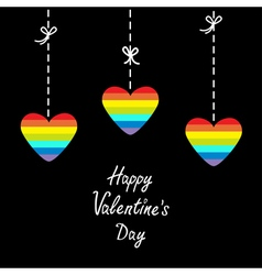 Hanging rainbow heart set dash line with bows vector