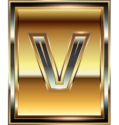 Ingot font letter v vector