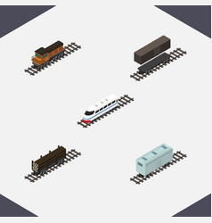 Isometric railway set of train lumber shipping vector